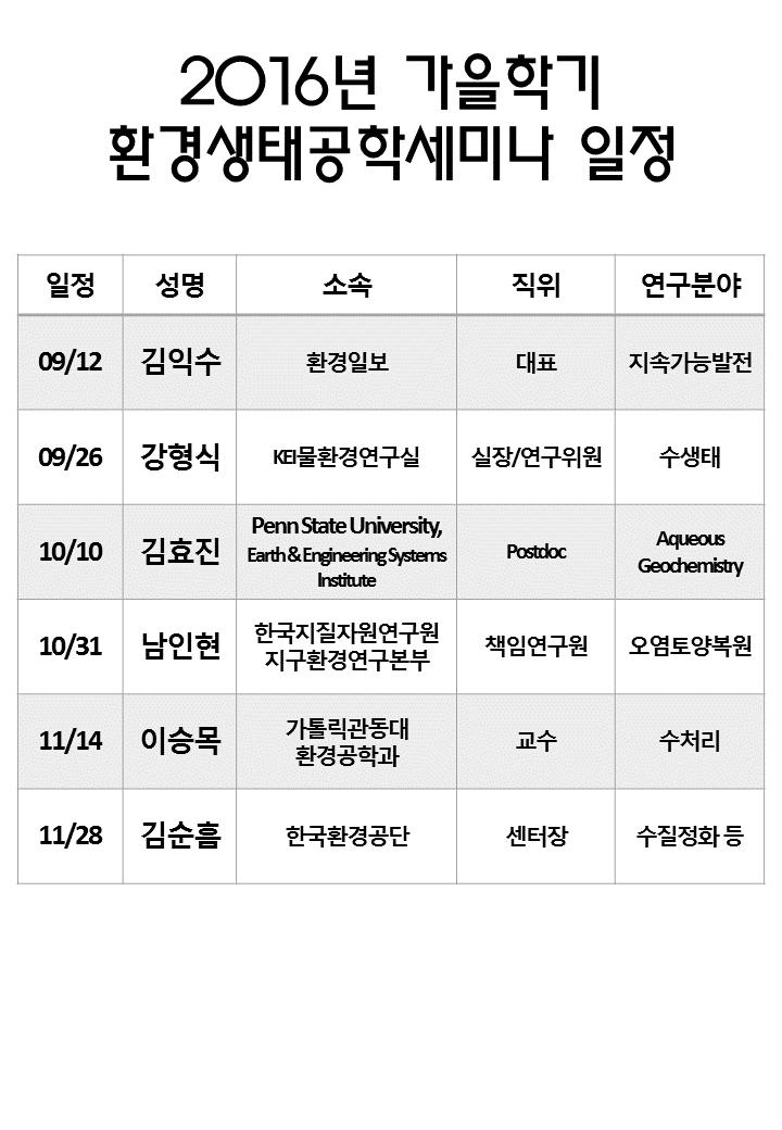 2016-2 환경생태공학세미나 일정 안내